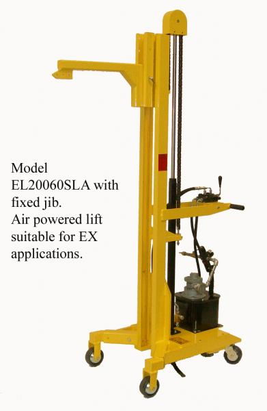 Transporters with jibs for lifting